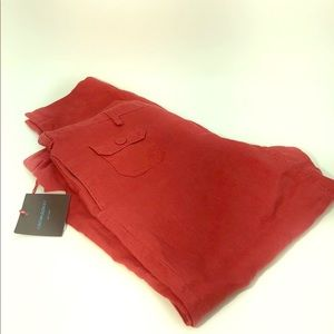 Cynthia Rowley Woman Linen Pants Sz 10 Red